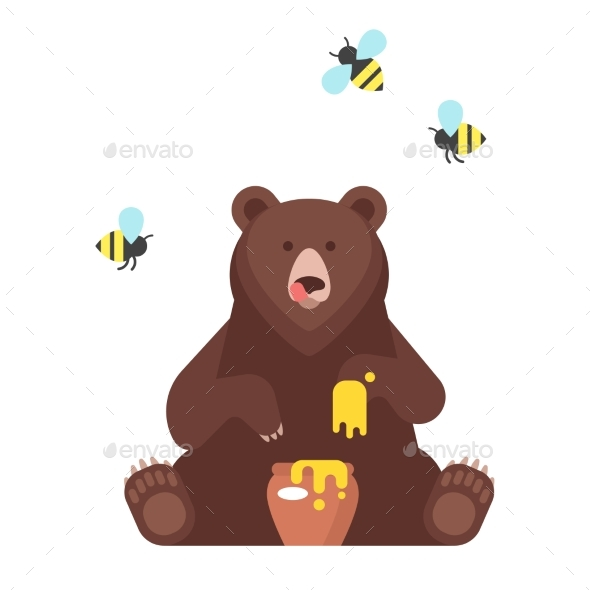 Bear Character Eating Sweet Honey - Food Objects