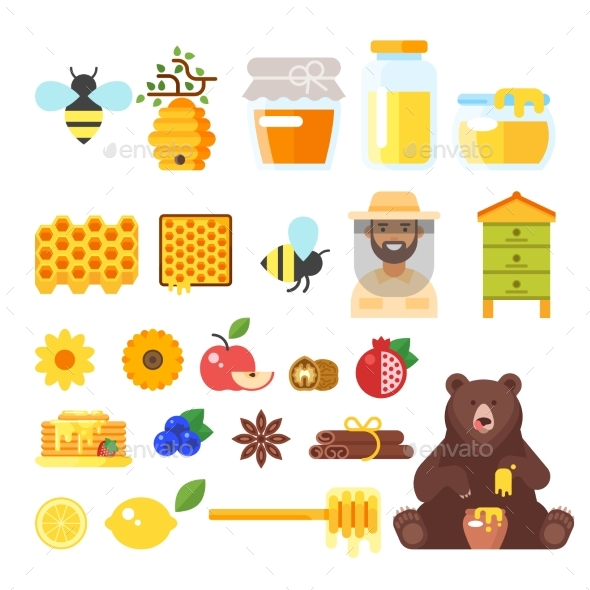 Beekeeping and Honey Icons - Food Objects
