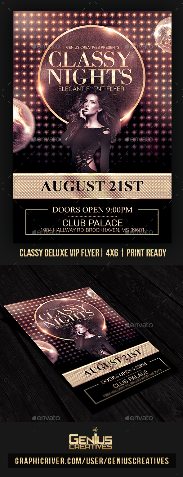 Classy VIP Deluxe Flyer Template - Clubs & Parties Events