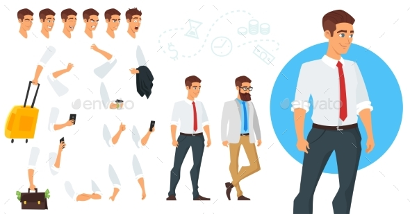 Constructor of Businessman Character - People Characters