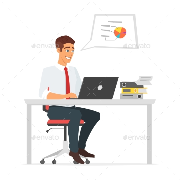 Businessman Working at the Computer - Concepts Business