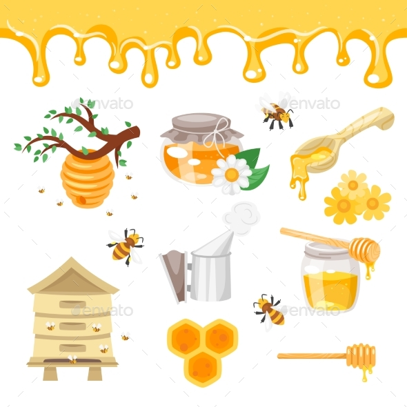 Beekeeping and Honey Illustrations - Food Objects
