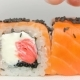 Chef Presentation of Luxury Japan Restaurant Sushi Rolls Otary Maki with Fresh Raw Salmon, Cheese - VideoHive Item for Sale