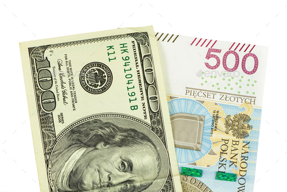 Banknotes of 100 USD and 500 PLN - Stock Photo - Images