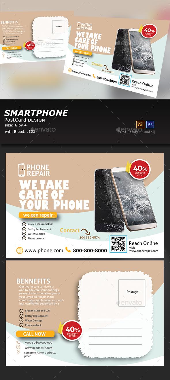 Smartphone Repair Postcard - Cards & Invites Print Templates