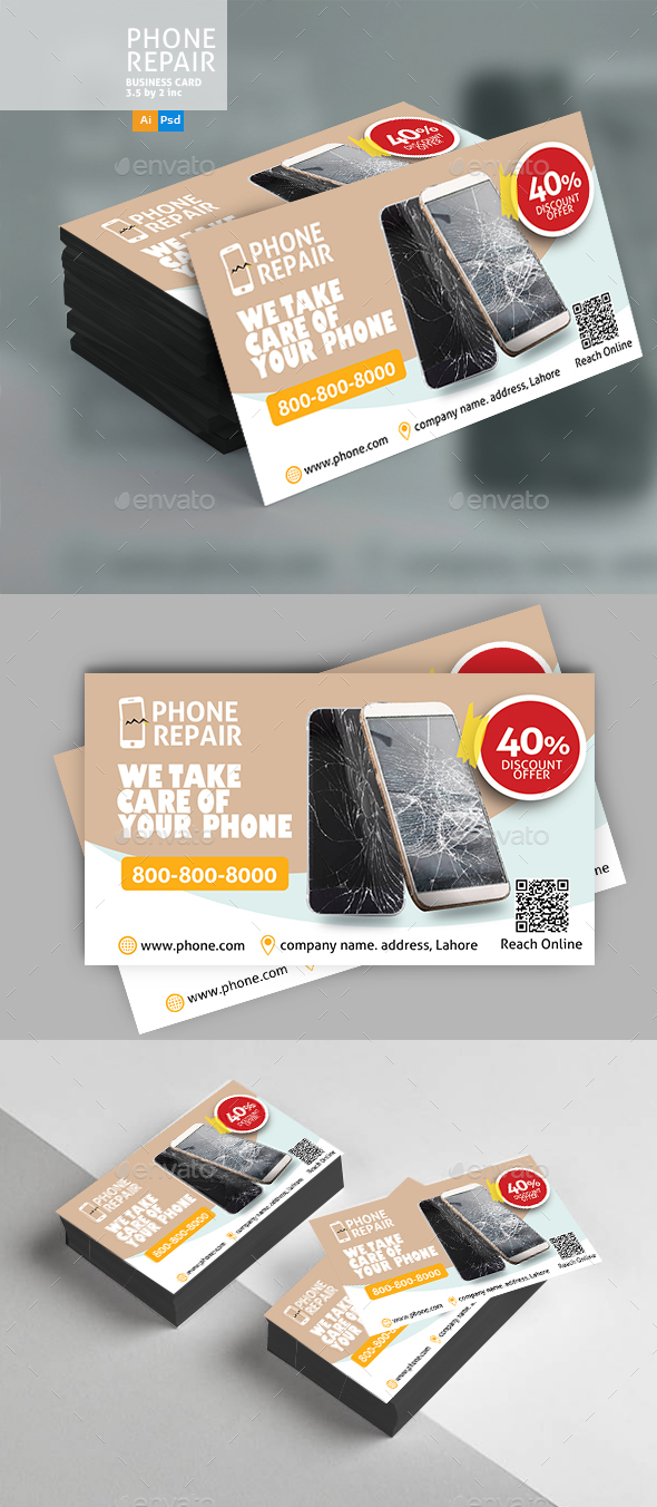 Smartphone Repair Business Card - Business Cards Print Templates