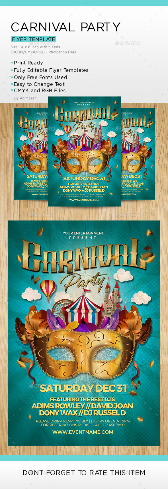 Carnival Party Flyer Template - Events Flyers