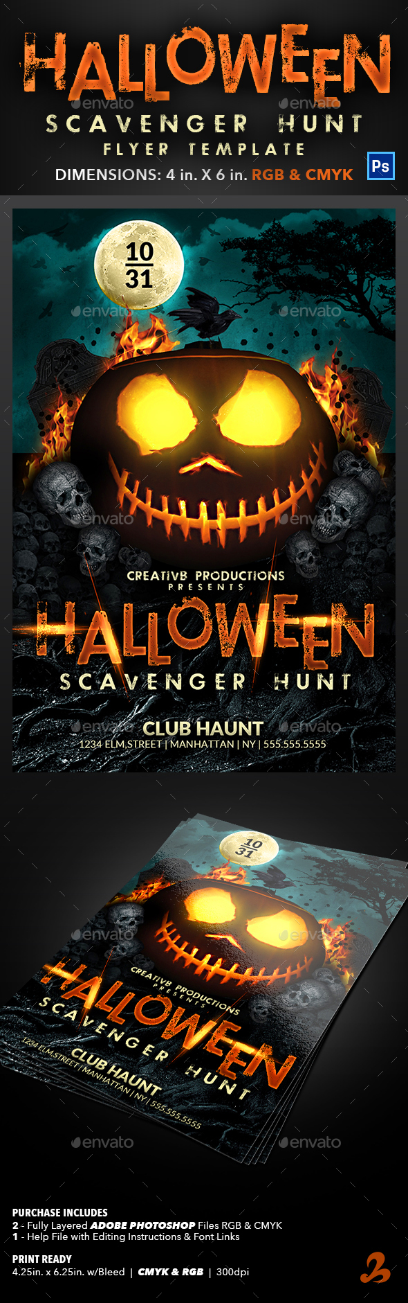 Halloween Scavenger Hunt Flyer Template - Events Flyers
