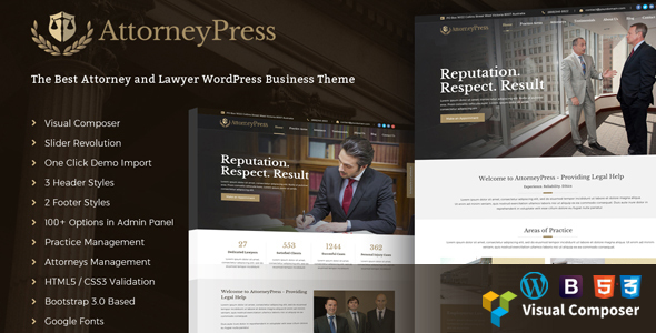 ThemeForest AttorneyPress Law Agency WordPress Theme 20385629