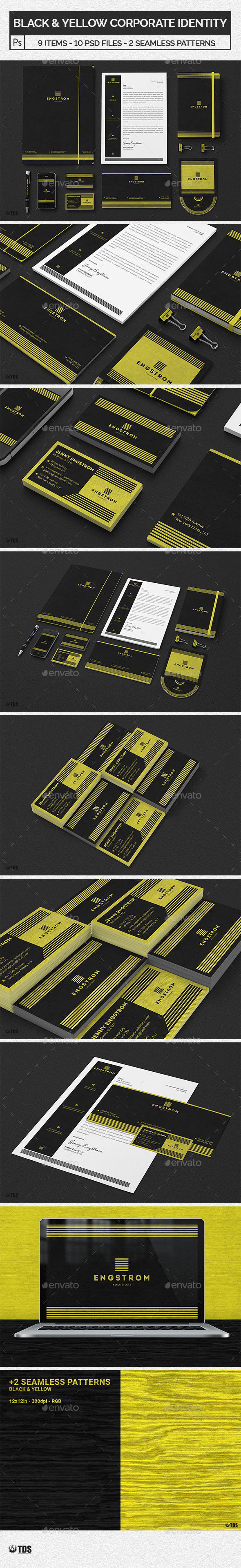 Black and Yellow Corporate Identity Template - Stationery Print Templates