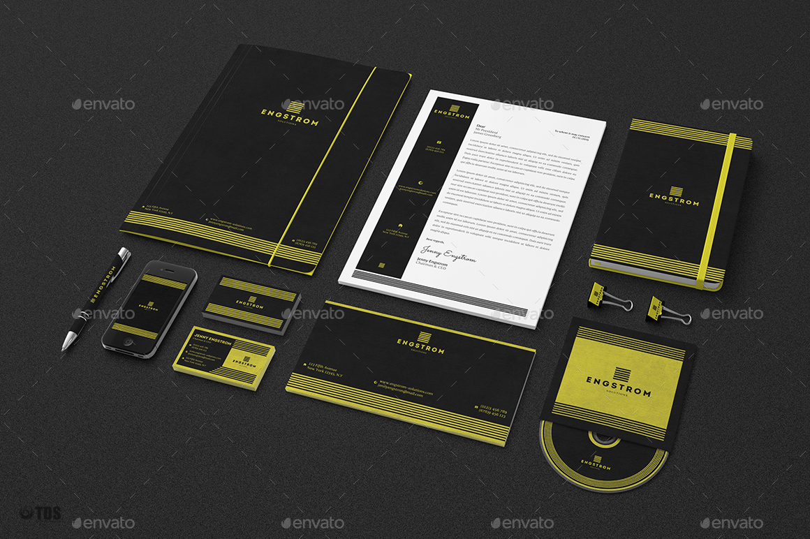 Black and Yellow Corporate Identity Template by lou606 | GraphicRiver