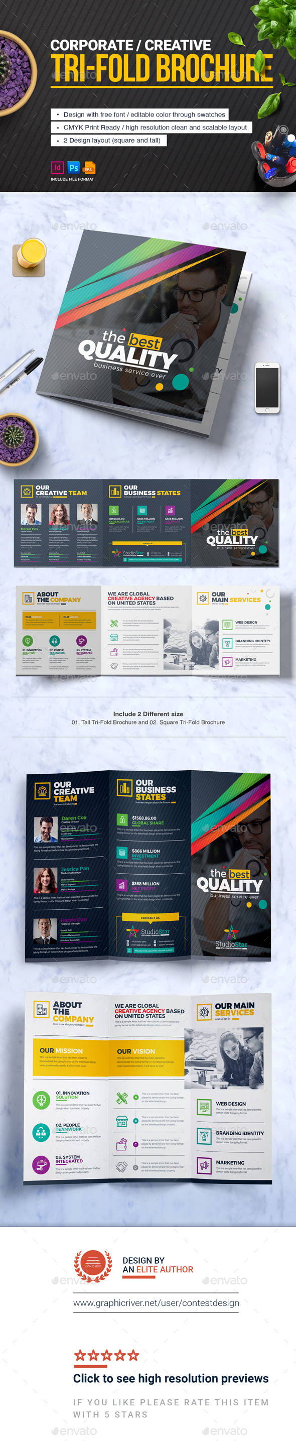 GraphicRiver TriFold Brochure Square and Tall Brochure Design Template 20739011