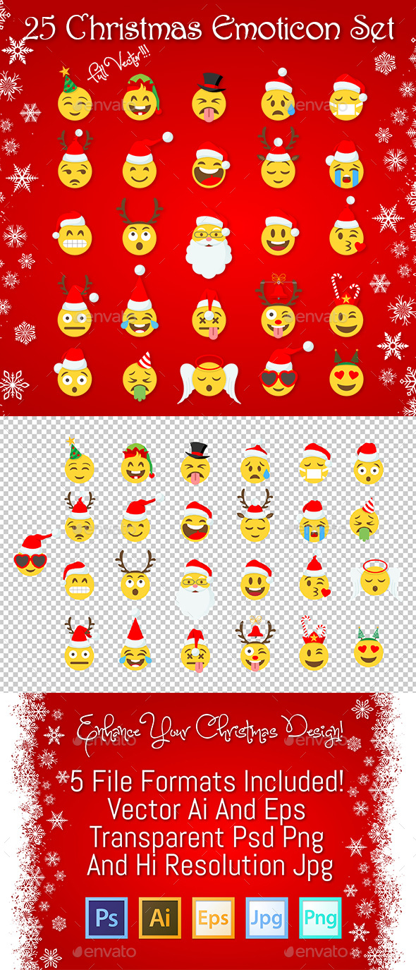 25 Christmas Emoticon Set - Christmas Seasons/Holidays