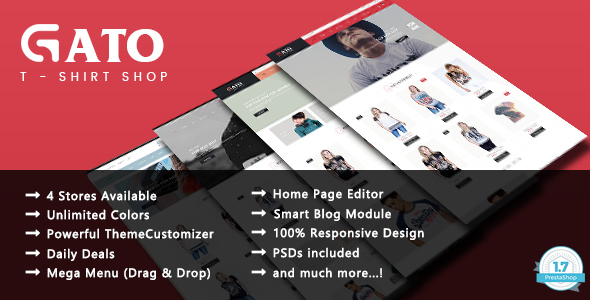 Image of Gato - Tshirt Shop Responsive Prestashop 1.7 Theme