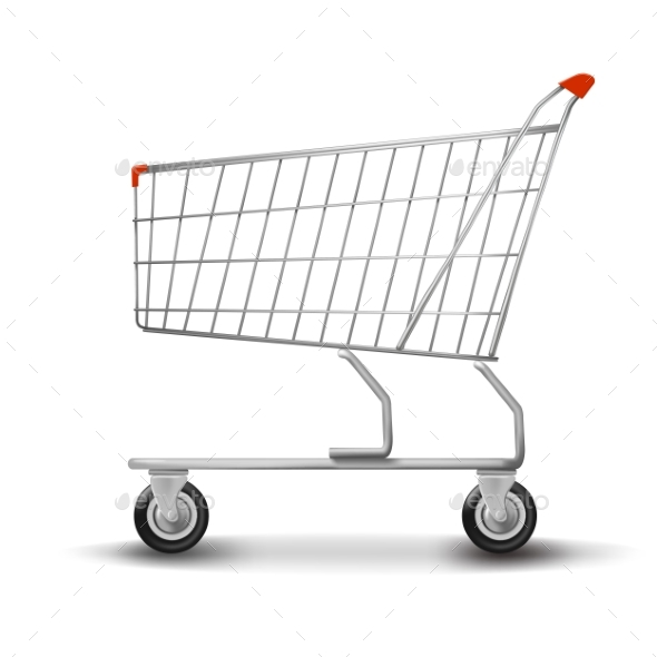 Shopping Cart Isolated on White Background - Miscellaneous Vectors