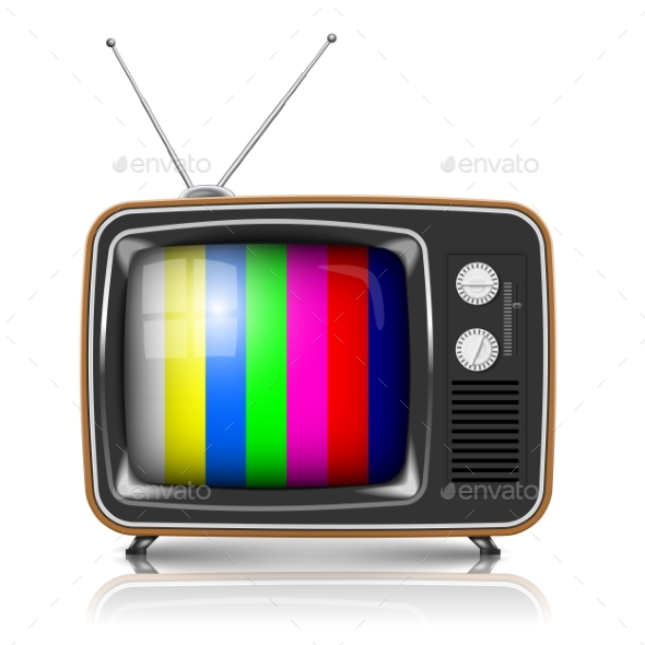 Vector Retro TV with Color Frame - Man-made Objects Objects