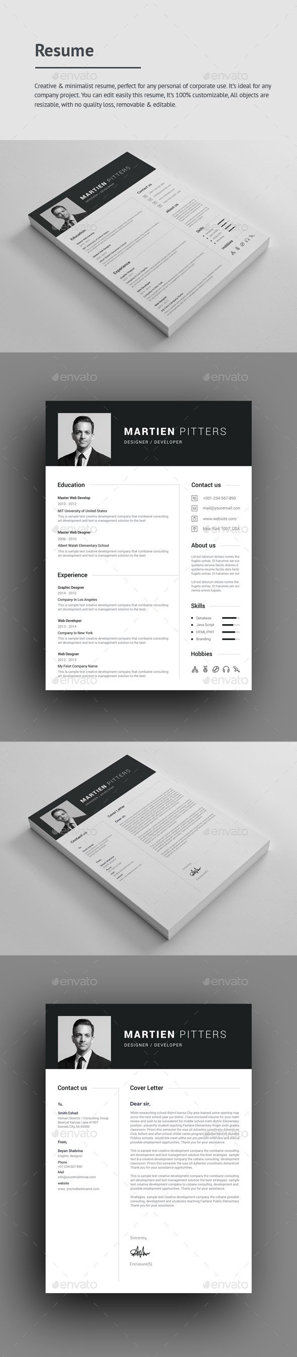 Resume Cv Format Resume Templates From Graphicriver Warrant Officer Resume Excel with Resume Description For Server  Recruiter Resumes Excel
