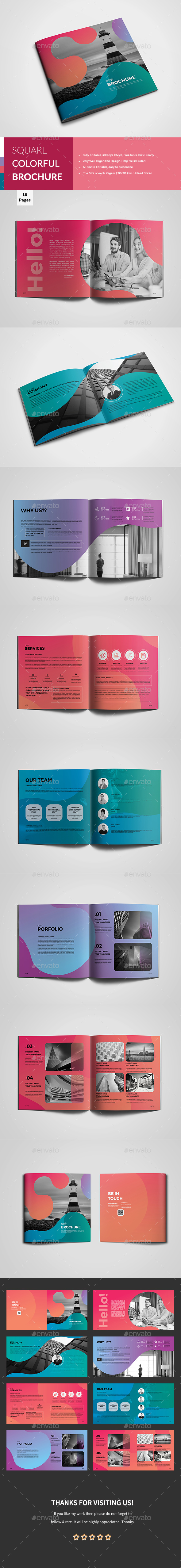 GraphicRiver Square Colorful Corporate Brochure 20739339