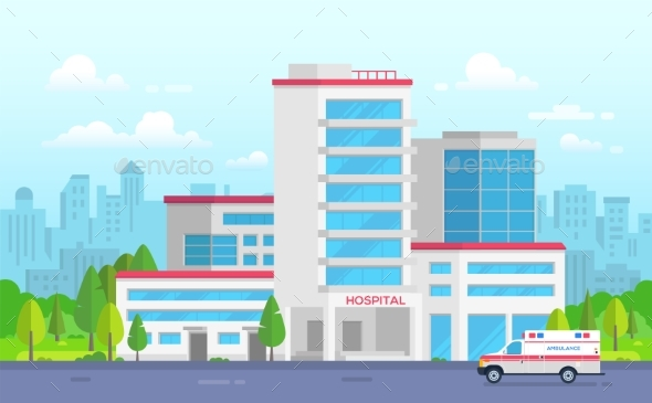 City Hospital with Ambulance - Modern Vector - Buildings Objects