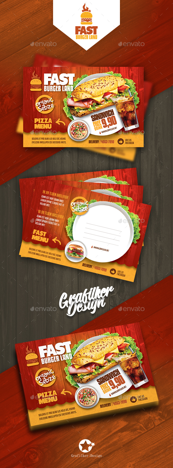 GraphicRiver Restaurant Postcard Templates 20739444