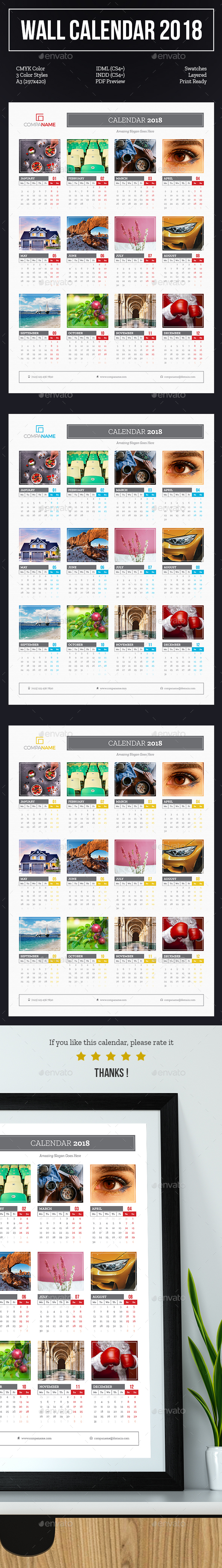 GraphicRiver Wall Calendar 2018 20739477