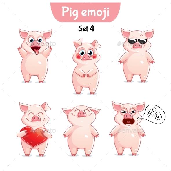 Vector Set of Pig Characters. Set 4 - Miscellaneous Vectors