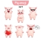 Vector Set of Pig Characters. Set 4