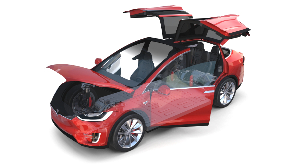 Tesla Model X Red with interior and chassis - 3DOcean Item for Sale