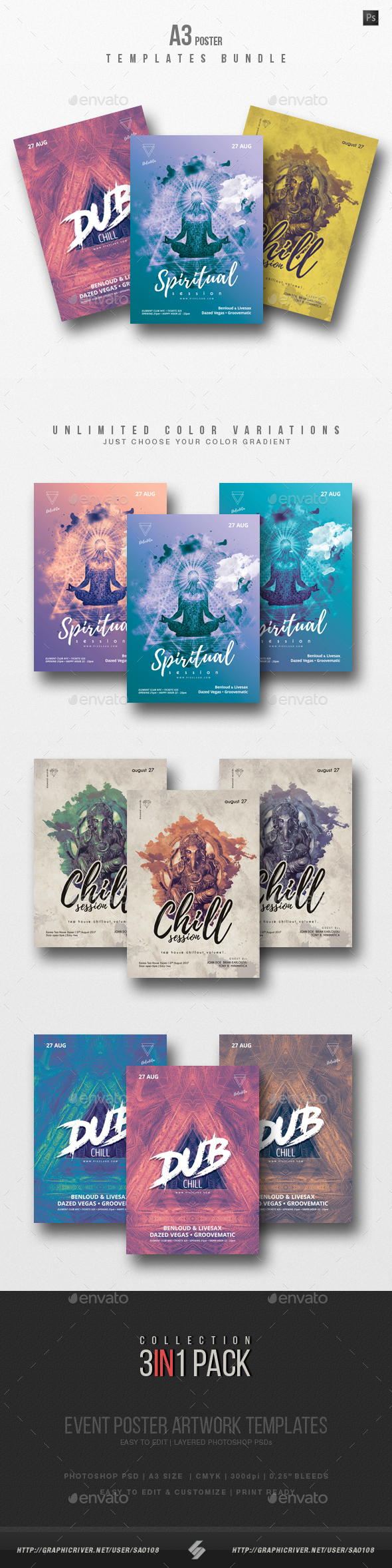 GraphicRiver Chillout Session 2 Flyer Poster Templates Bundle 20739697