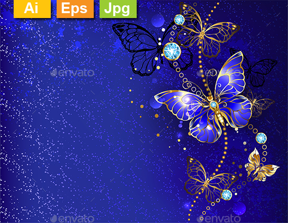 Blue Background with Sapphire Butterfly - Backgrounds Decorative