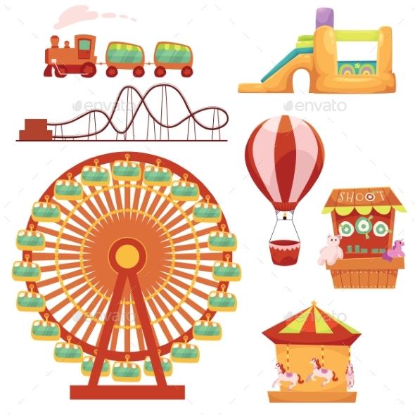 Amusement Park Set, Cartoon Vector Illustration - Backgrounds Decorative