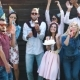 Friends Are Celebrating the Event, Laughing, Dancing and Drinking Champagne - VideoHive Item for Sale