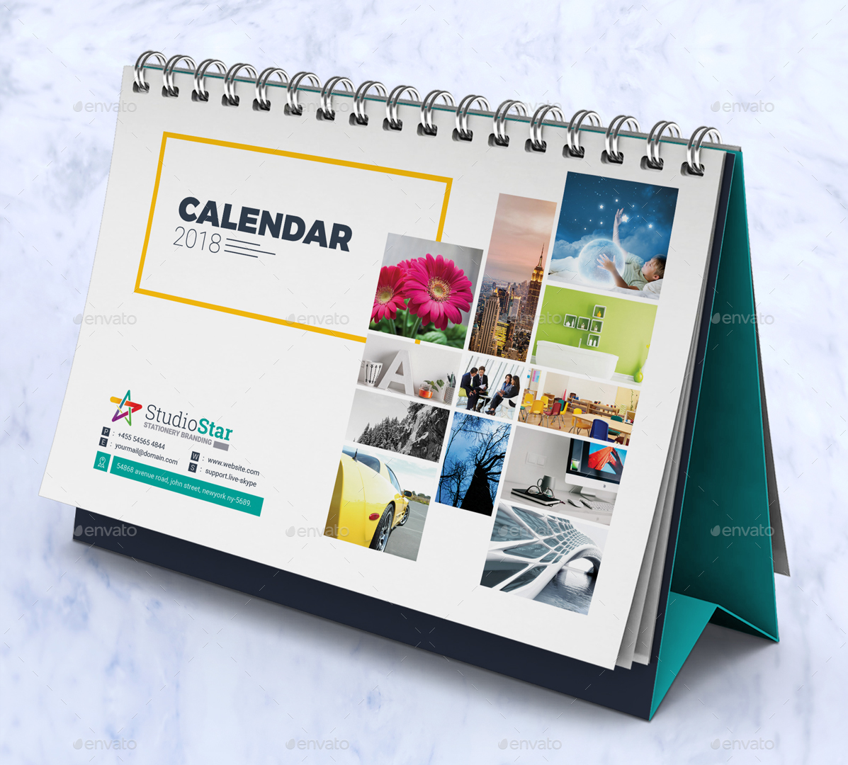 Calendar Cover 2018 : Calendar design template wall and desk table