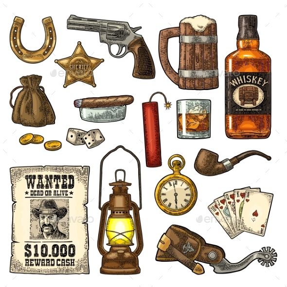 Set with Wild West and Casino Symbols - Man-made Objects Objects