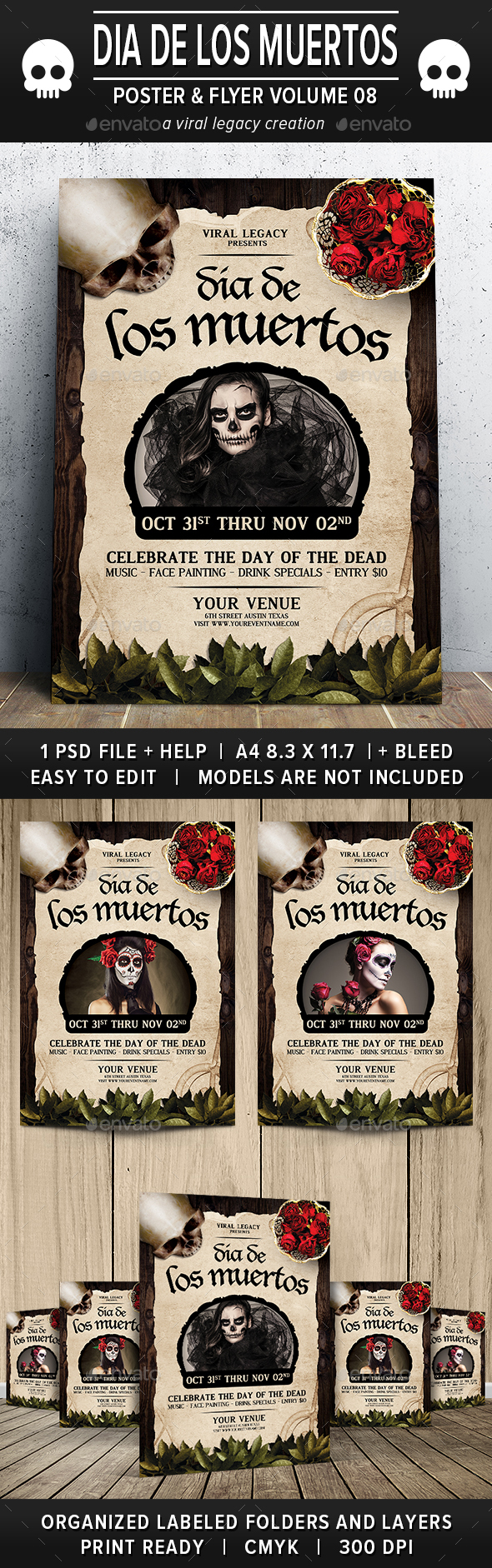 Dia De Los Muertos Poster / Flyer V08 - Events Flyers