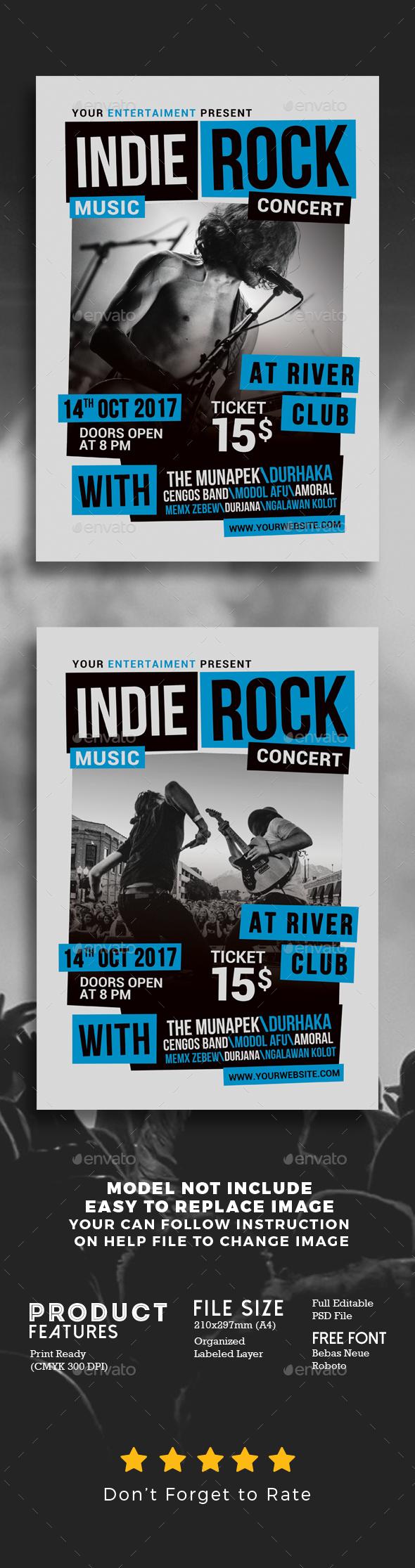 Indie Rock Music Concert Flyer - Concerts Events