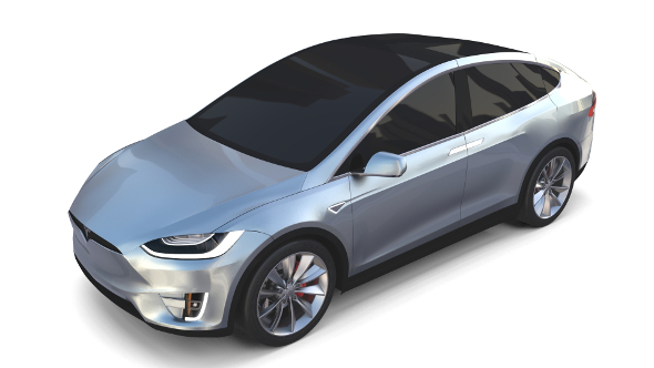 Tesla Model X Silver - 3DOcean Item for Sale