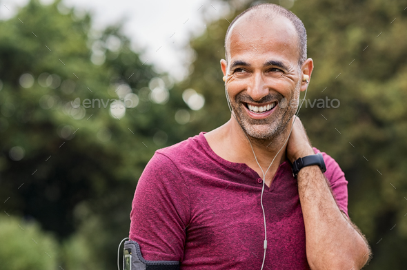 Sweaty man resting after exercise - Stock Photo - Images