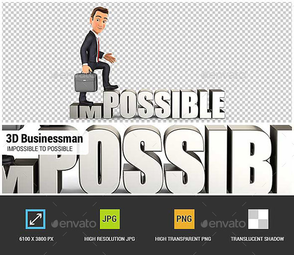 3D Businessman Turning Impossible into Possible - Characters 3D Renders