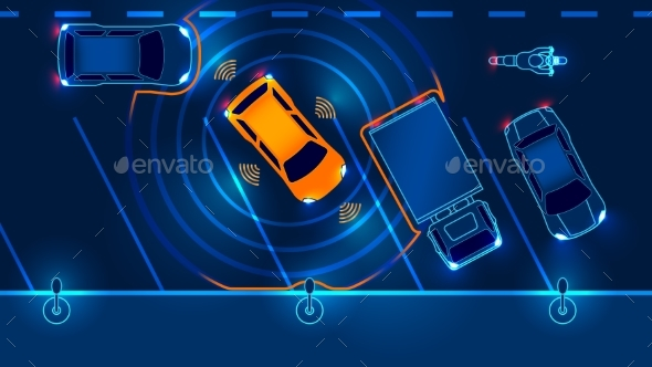 Smart Car is Automatically Parked - Miscellaneous Vectors