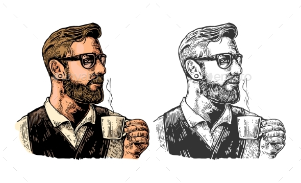 Hipster Barista with the Beard Holding a Cup - People Characters