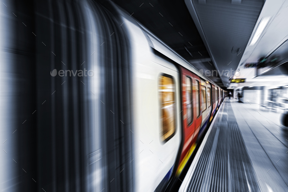 View of Motion blurred underground