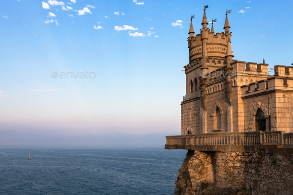 Swallow Nest Castle over Black Sea in Crimea - Stock Photo - Images