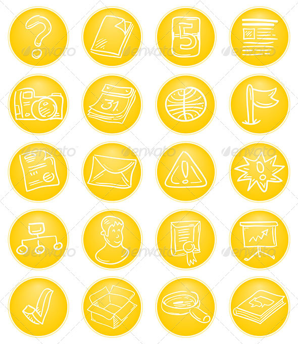 Yellow CMS icons - Web Technology