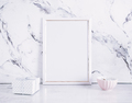 Blank frame and craft box over marble table - PhotoDune Item for Sale