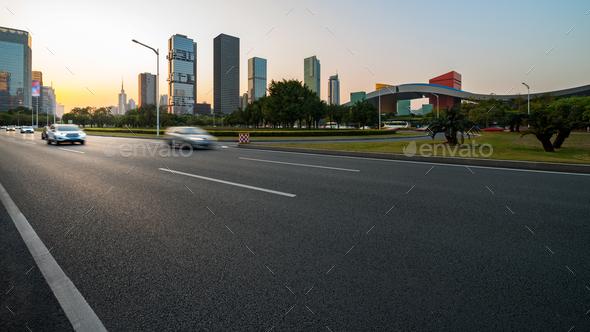 Asphalt pavement urban road - Stock Photo - Images