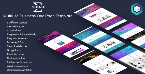 Download Sigma - Multiuse Business One Page Template            nulled nulled version