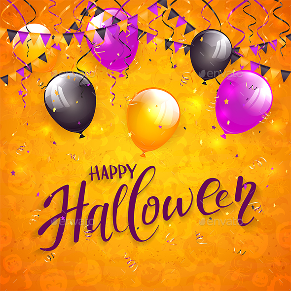 Orange Halloween Background with Pennants and Balloons