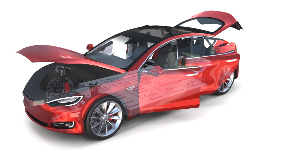 Tesla Model S 2016 Red with interior and chassis - 3DOcean Item for Sale