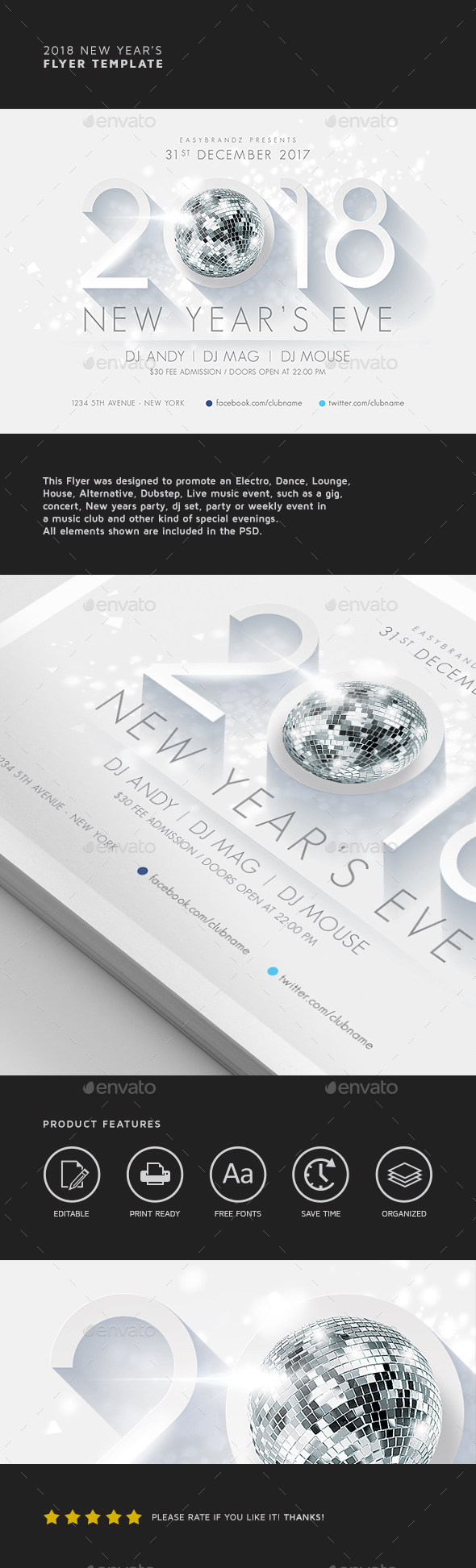 2018 New Year's Flyer Template - Holidays Events